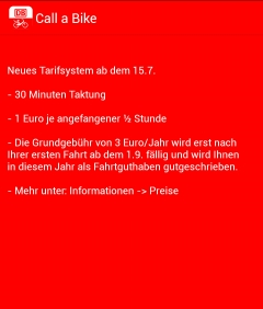 Screenshot: DB Call-a-Bike-App für Android